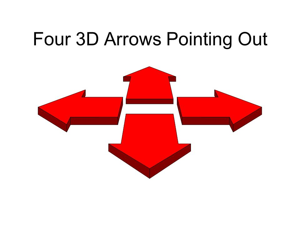 Four 3D Arrows Pointing Out