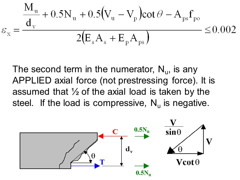 The second term in the numerator, N u, is any APPLIED axial force (not prestressing force). It is assumed that ½ of the axial load is taken by the ste