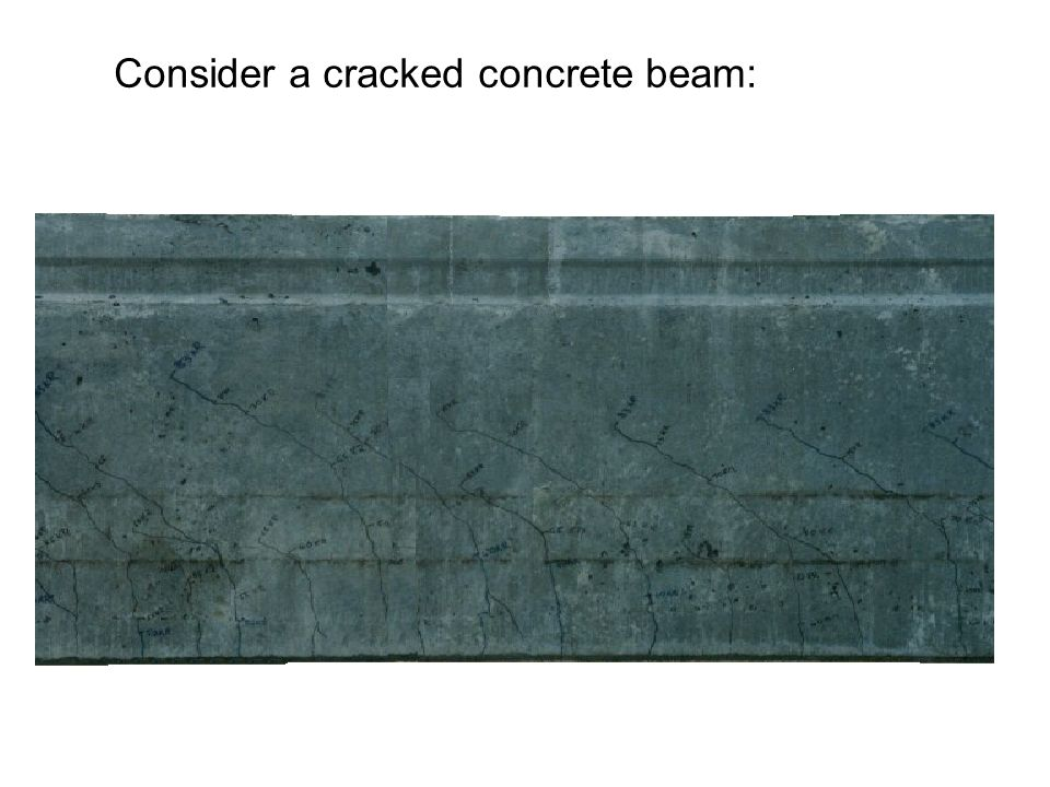 Consider a cracked concrete beam: