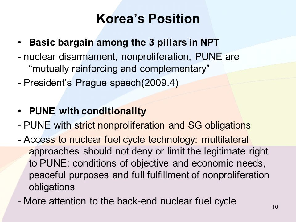 Koreas Position Basic bargain among the 3 pillars in NPT - nuclear disarmament, nonproliferation, PUNE are mutually reinforcing and complementary - Pr