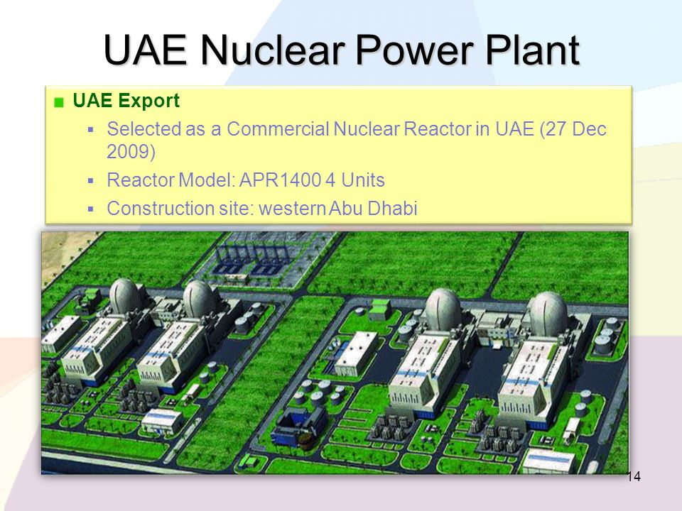 UAE Export Selected as a Commercial Nuclear Reactor in UAE (27 Dec 2009) Reactor Model: APR1400 4 Units Construction site: western Abu Dhabi UAE Expor