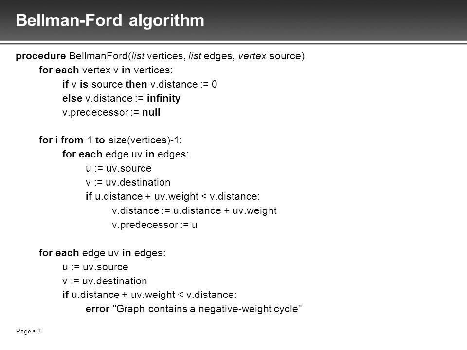 Page 3 Bellman-Ford algorithm procedure BellmanFord(list vertices, list edges, vertex source) for each vertex v in vertices: if v is source then v.dis