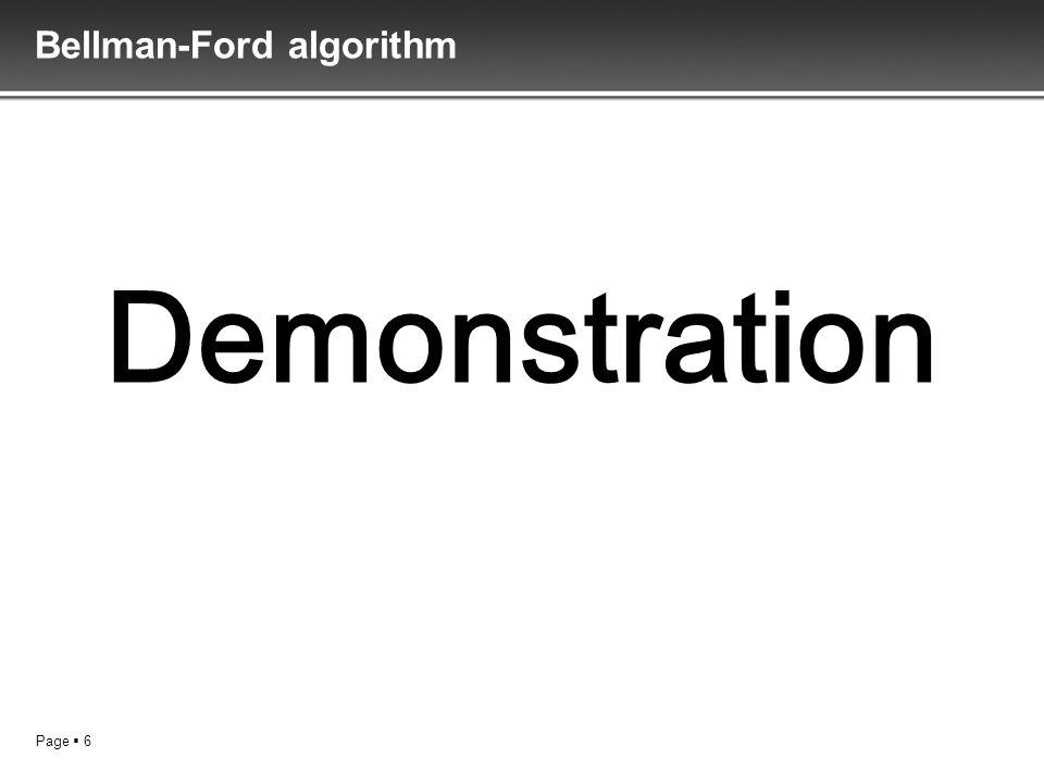 Page 6 Bellman-Ford algorithm Demonstration