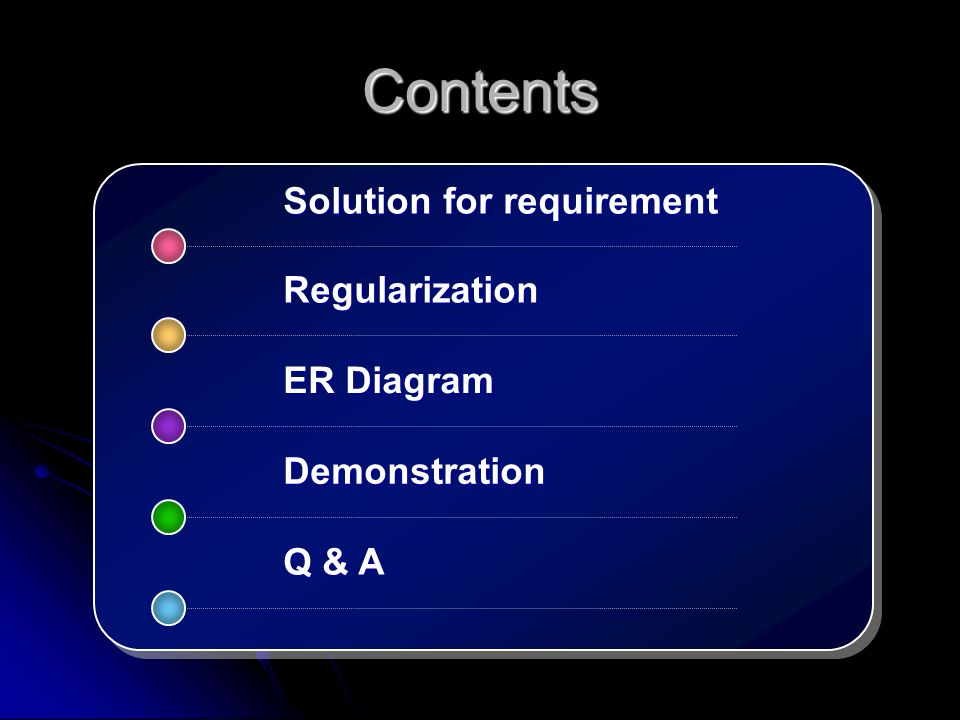 Contents Solution for requirement ER Diagram Demonstration Q & A Regularization