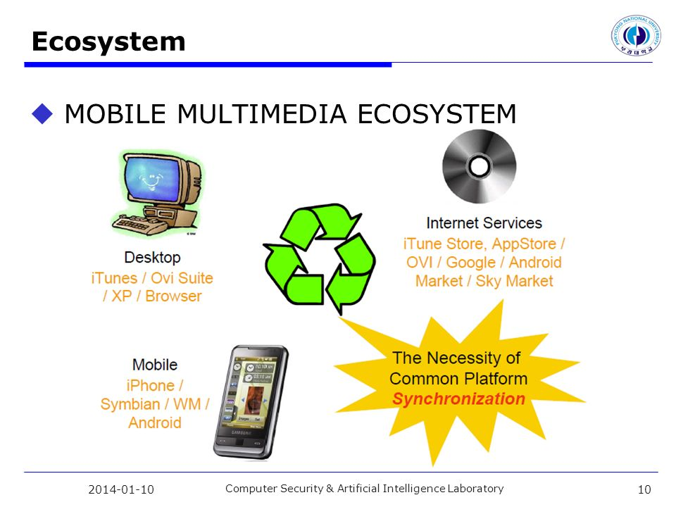 Ecosystem MOBILE MULTIMEDIA ECOSYSTEM Computer Security & Artificial Intelligence Laboratory 10