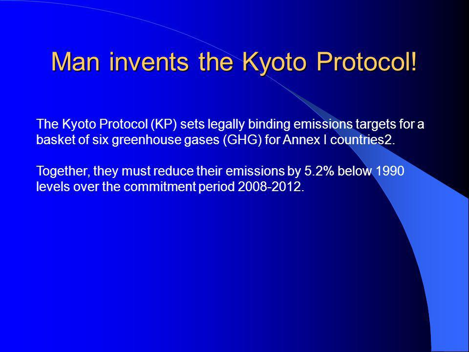 Man invents the Kyoto Protocol! The Kyoto Protocol (KP) sets legally binding emissions targets for a basket of six greenhouse gases (GHG) for Annex I