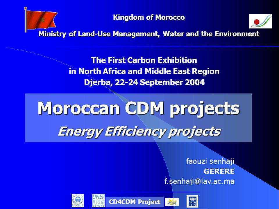 Kingdom of Morocco Ministry of Land-Use Management, Water and the Environment The First Carbon Exhibition in North Africa and Middle East Region Djerba, 22-24 September 2004 Moroccan CDM projects Energy Efficiency projects faouzi senhaji GERERE f.senhaji@iav.ac.ma CD4CDM Project