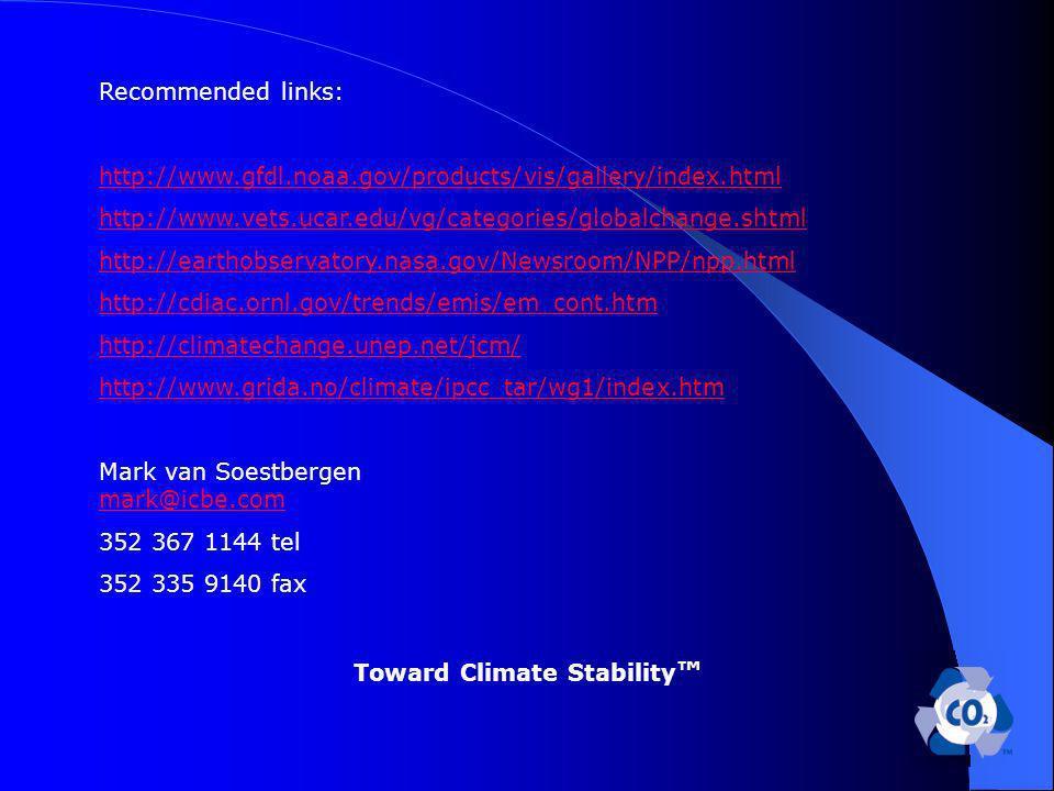 Recommended links: http://www.gfdl.noaa.gov/products/vis/gallery/index.html http://www.vets.ucar.edu/vg/categories/globalchange.shtml http://earthobservatory.nasa.gov/Newsroom/NPP/npp.html http://cdiac.ornl.gov/trends/emis/em_cont.htm http://climatechange.unep.net/jcm/ http://www.grida.no/climate/ipcc_tar/wg1/index.htm Mark van Soestbergen mark@icbe.com mark@icbe.com 352 367 1144 tel 352 335 9140 fax Toward Climate Stability