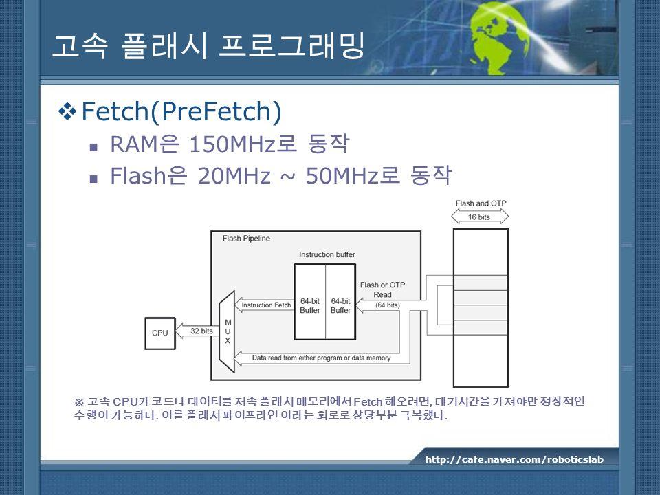 Fetch(PreFetch) RAM 150MHz Flash 20MHz ~ 50MHz http://cafe.naver.com/roboticslab CPU Fetch,..