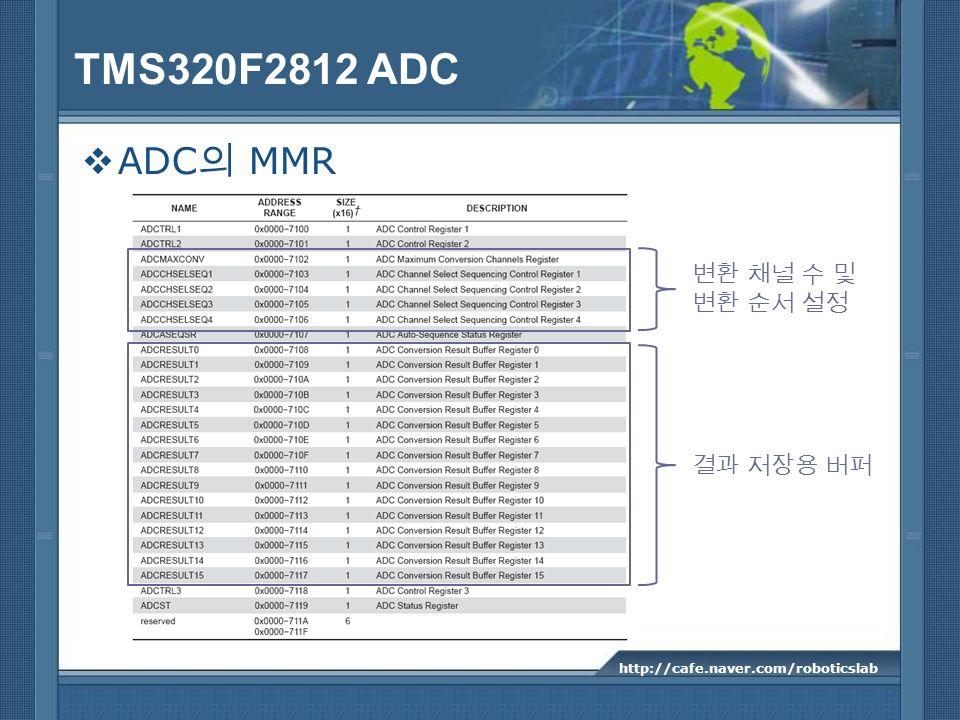 TMS320F2812 ADC ADC MMR http://cafe.naver.com/roboticslab