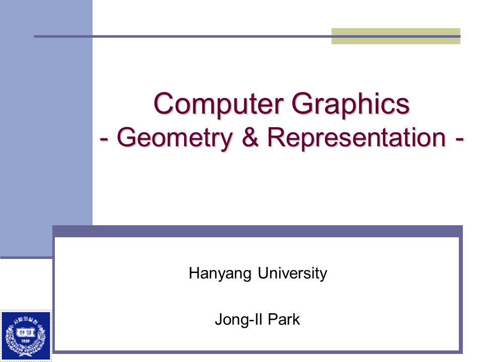 Computer Graphics - Geometry & Representation - Hanyang University Jong-Il Park