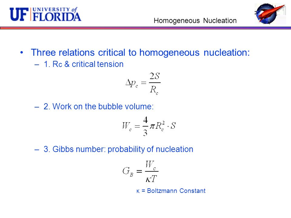 Homogeneous Nucleation Three relations critical to homogeneous nucleation: –1.