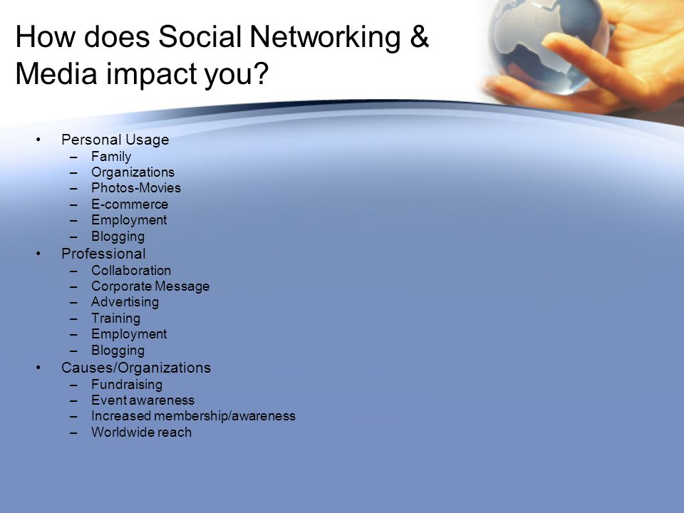 How does Social Networking & Media impact you.