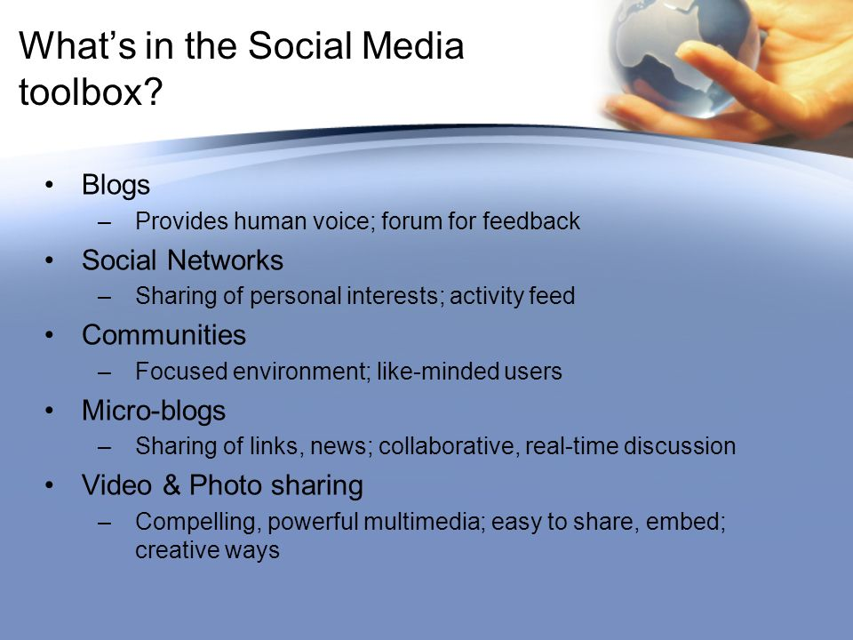 Whats in the Social Media toolbox.
