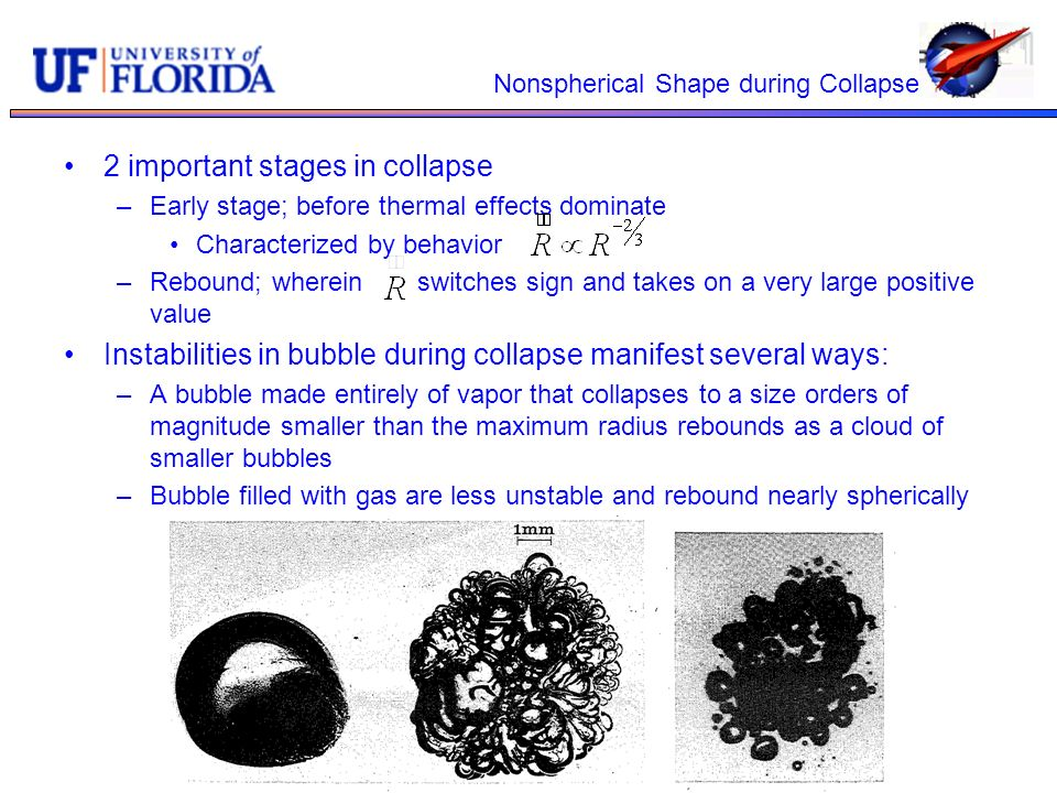 Nonspherical Shape during Collapse 2 important stages in collapse –Early stage; before thermal effects dominate Characterized by behavior –Rebound; wh