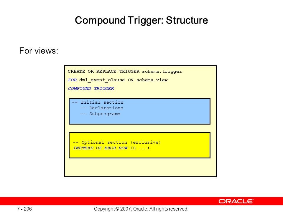 Copyright © 2007, Oracle. All rights reserved. 7 - 206 Compound Trigger: Structure For views: CREATE OR REPLACE TRIGGER schema.trigger FOR dml_event_c