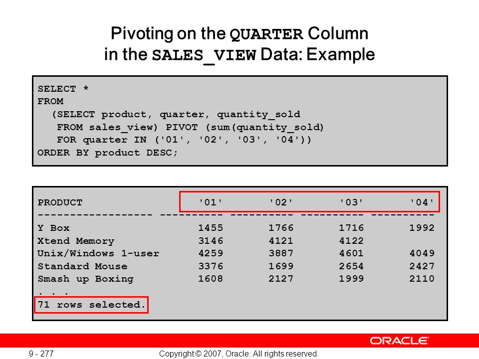 Copyright © 2007, Oracle. All rights reserved. 9 - 277 Pivoting on the QUARTER Column in the SALES_VIEW Data: Example SELECT * FROM (SELECT product, q