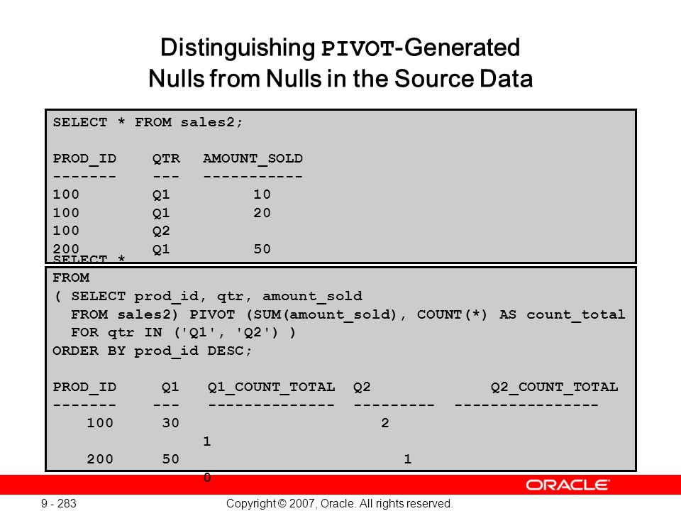 Copyright © 2007, Oracle. All rights reserved. 9 - 283 Distinguishing PIVOT -Generated Nulls from Nulls in the Source Data SELECT * FROM sales2; PROD_