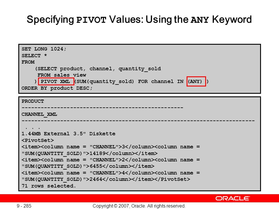 Copyright © 2007, Oracle. All rights reserved. 9 - 285 Specifying PIVOT Values: Using the ANY Keyword PRODUCT ----------------------------------------