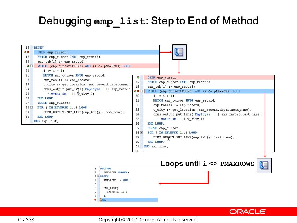 Copyright © 2007, Oracle. All rights reserved. C - 338 Debugging emp_list : Step to End of Method Loops until i <> PMAXROWS