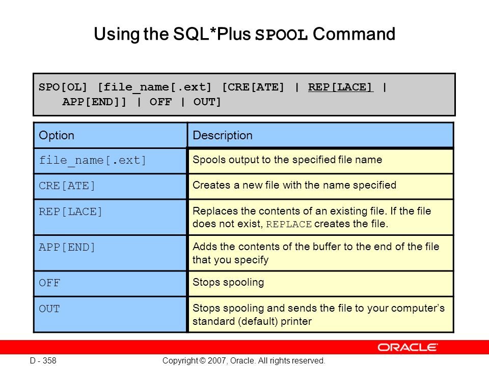 Copyright © 2007, Oracle. All rights reserved. D - 358 Using the SQL*Plus SPOOL Command SPO[OL] [file_name[.ext] [CRE[ATE] | REP[LACE] | APP[END]] | O