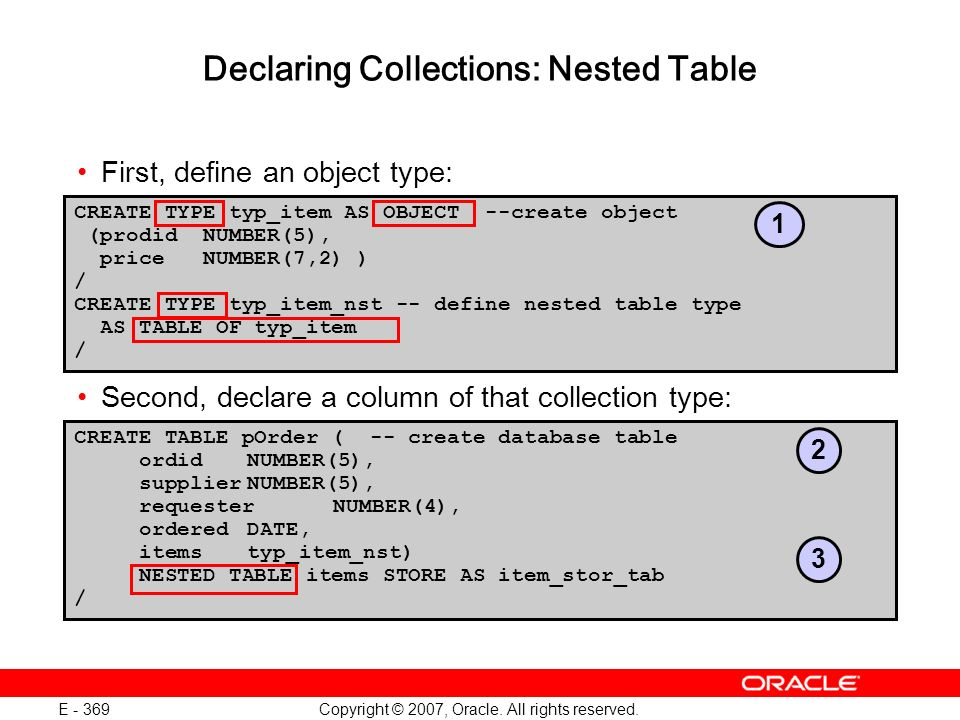 Copyright © 2007, Oracle. All rights reserved. E - 369 Declaring Collections: Nested Table First, define an object type: Second, declare a column of t