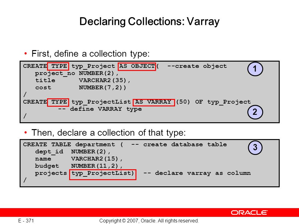 Copyright © 2007, Oracle. All rights reserved. E - 371 CREATE TABLE department ( -- create database table dept_id NUMBER(2), name VARCHAR2(15), budget