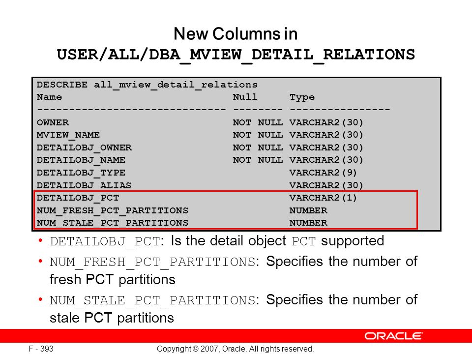 Copyright © 2007, Oracle. All rights reserved. F - 393 DETAILOBJ_PCT : Is the detail object PCT supported NUM_FRESH_PCT_PARTITIONS : Specifies the num
