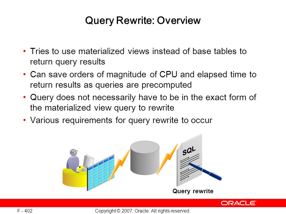 Copyright © 2007, Oracle. All rights reserved. F - 402 Query Rewrite: Overview Tries to use materialized views instead of base tables to return query