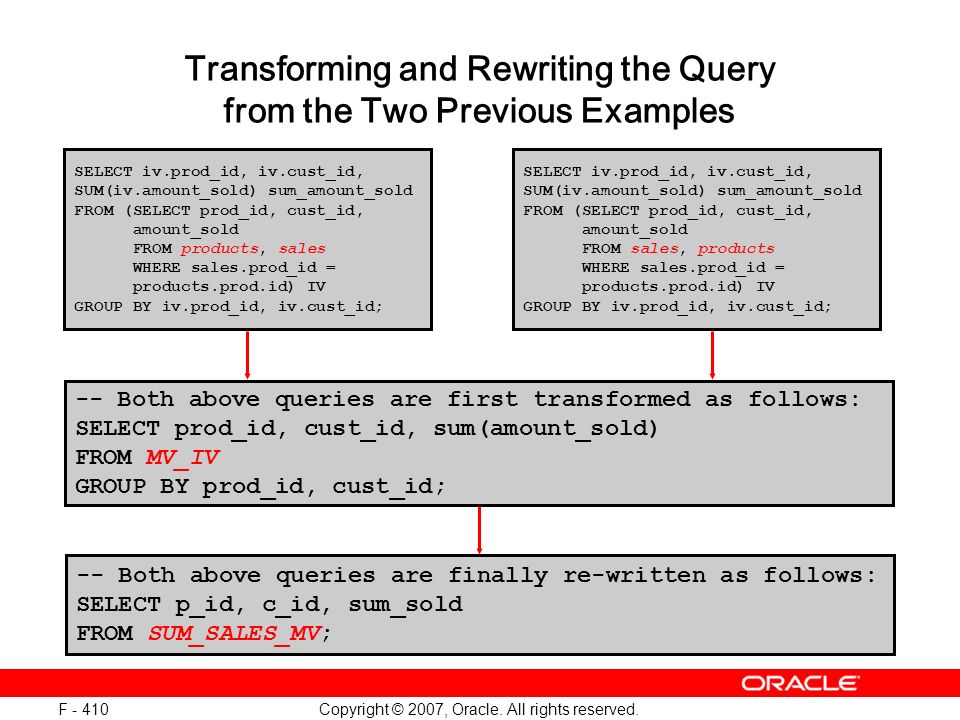 Copyright © 2007, Oracle. All rights reserved. F - 410 Transforming and Rewriting the Query from the Two Previous Examples -- Both above queries are f