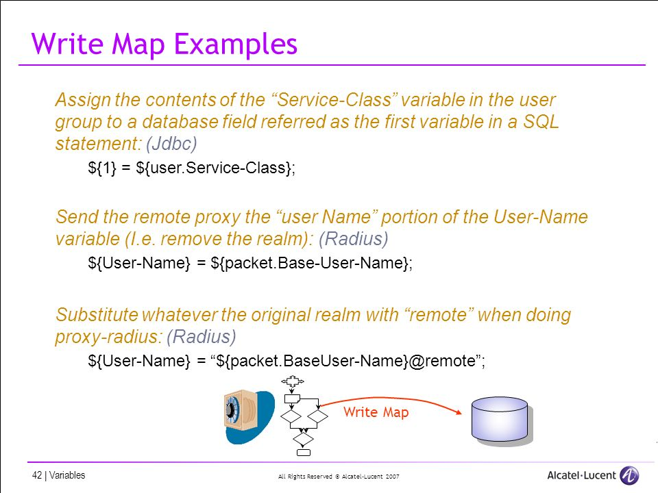 All Rights Reserved © Alcatel-Lucent 2007 42 | Variables Write Map Examples Assign the contents of the Service-Class variable in the user group to a d
