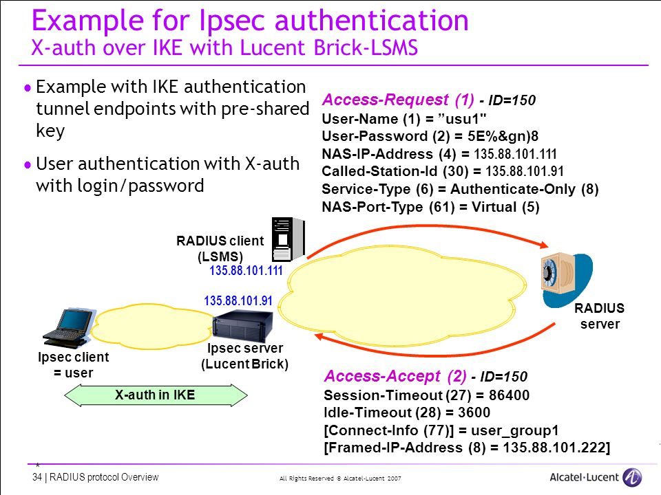 All Rights Reserved © Alcatel-Lucent 2007 34 | RADIUS protocol Overview Example for Ipsec authentication X-auth over IKE with Lucent Brick-LSMS Example with IKE authentication tunnel endpoints with pre-shared key User authentication with X-auth with login/password Ipsec client = user Ipsec server (Lucent Brick) X-auth in IKE Access-Request (1) - ID=150 User-Name (1) = usu1 User-Password (2) = 5E%&gn)8 NAS-IP-Address (4) = 135.88.101.111 Called-Station-Id (30) = 135.88.101.91 Service-Type (6) = Authenticate-Only (8) NAS-Port-Type (61) = Virtual (5) RADIUS client (LSMS) 135.88.101.111 135.88.101.91 Access-Accept (2) - ID=150 Session-Timeout (27) = 86400 Idle-Timeout (28) = 3600 [Connect-Info (77)] = user_group1 [Framed-IP-Address (8) = 135.88.101.222] * RADIUS server