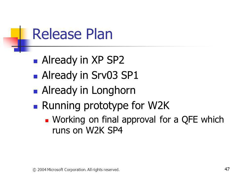 © 2004 Microsoft Corporation. All rights reserved. 47 Release Plan Already in XP SP2 Already in Srv03 SP1 Already in Longhorn Running prototype for W2