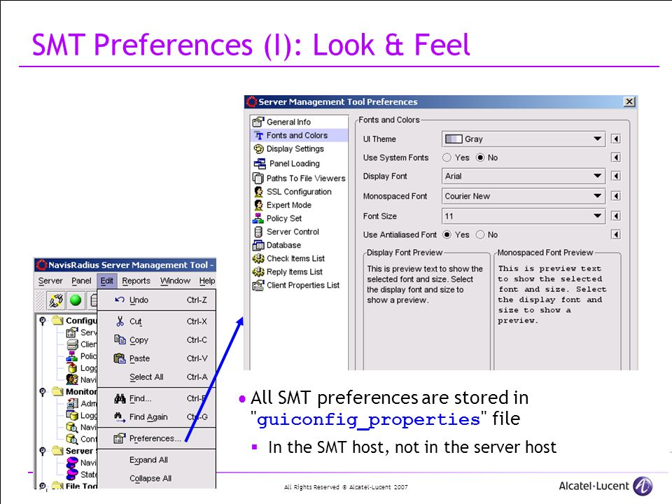 All Rights Reserved © Alcatel-Lucent 2007 60 | SMT SMT Preferences (I): Look & Feel All SMT preferences are stored in