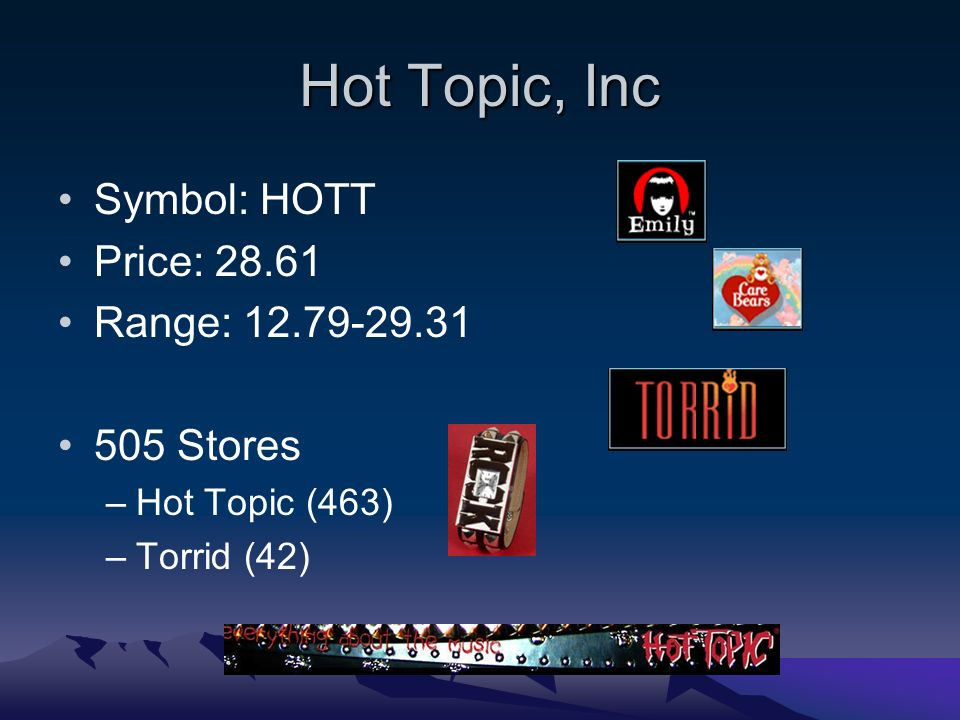Hot Topic, Inc Symbol: HOTT Price: Range: Stores –Hot Topic (463) –Torrid (42)