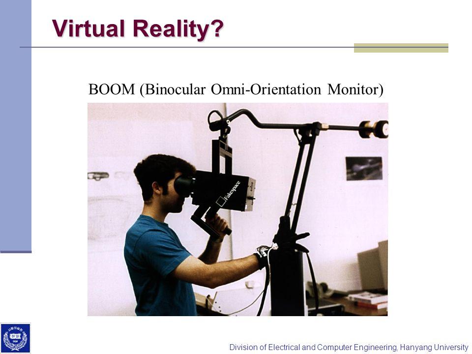 Division of Electrical and Computer Engineering, Hanyang University Virtual Reality? BOOM (Binocular Omni-Orientation Monitor)