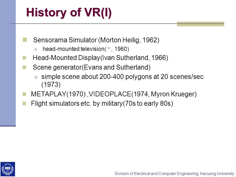 Division of Electrical and Computer Engineering, Hanyang University History of VR(I) Sensorama Simulator (Morton Heilig, 1962) head-mounted television