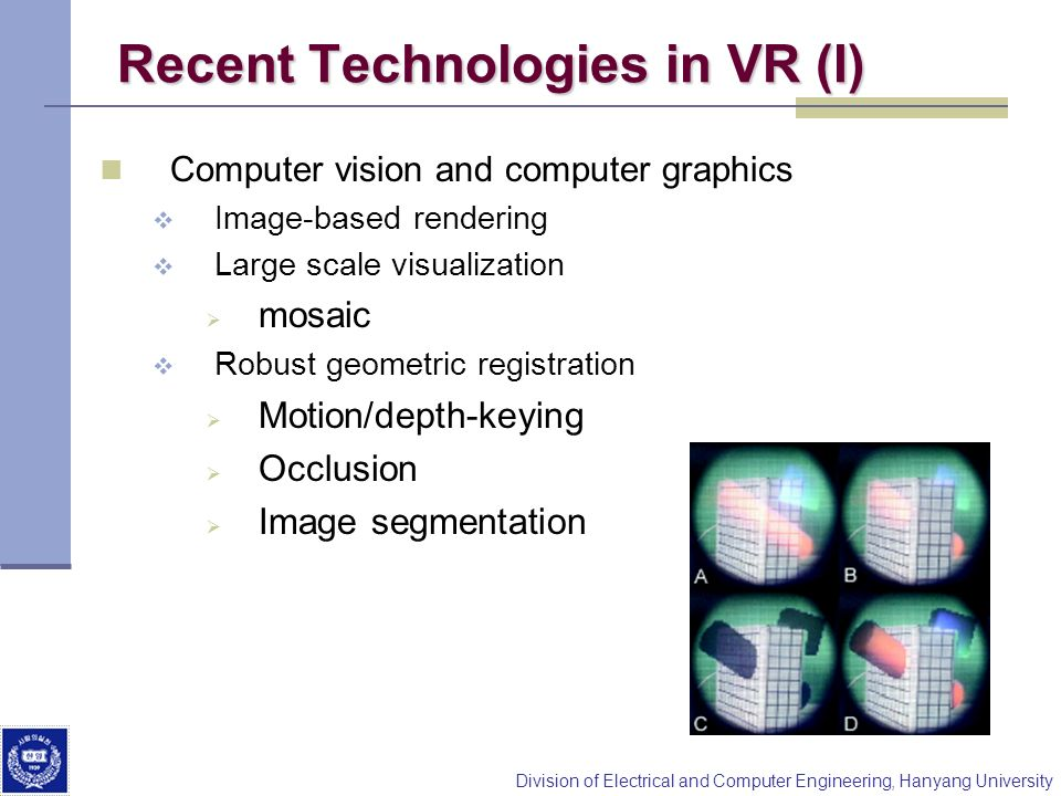Division of Electrical and Computer Engineering, Hanyang University Recent Technologies in VR (I) Computer vision and computer graphics Image-based re