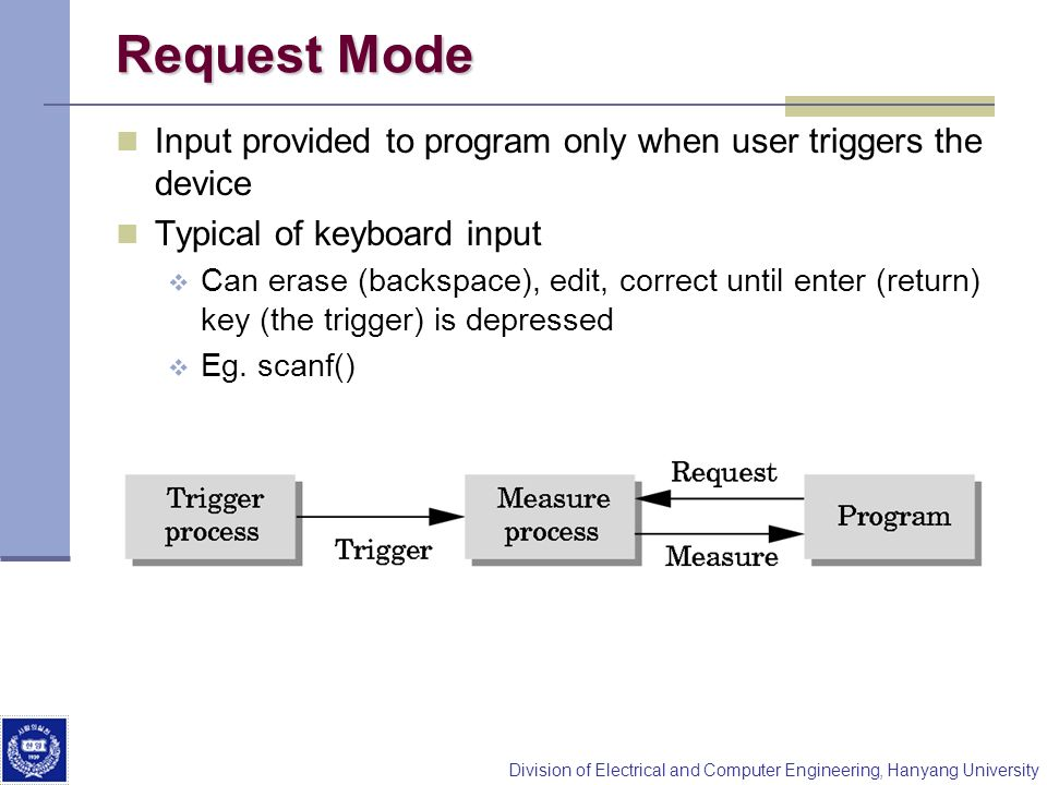 Division of Electrical and Computer Engineering, Hanyang University Request Mode Input provided to program only when user triggers the device Typical