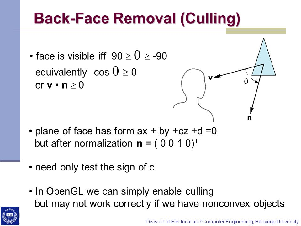 Division of Electrical and Computer Engineering, Hanyang University Back-Face Removal (Culling) face is visible iff 90 -90 equivalently cos 0 or v n 0
