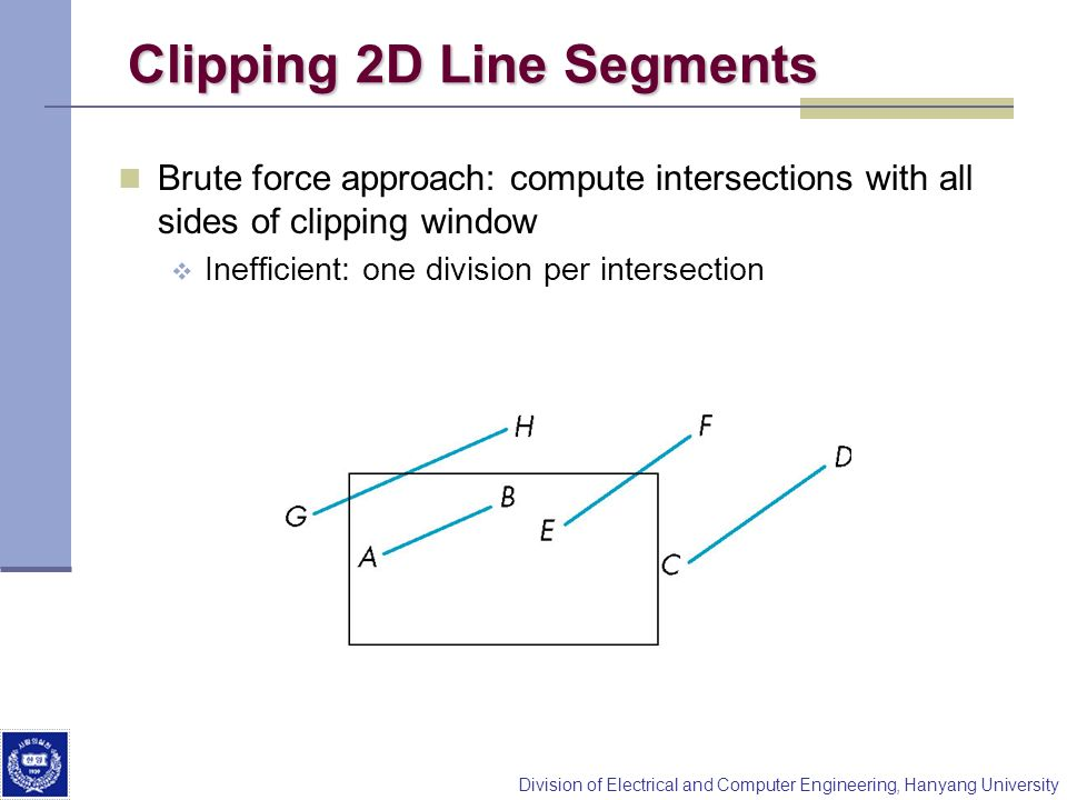 Division of Electrical and Computer Engineering, Hanyang University Clipping 2D Line Segments Brute force approach: compute intersections with all sid