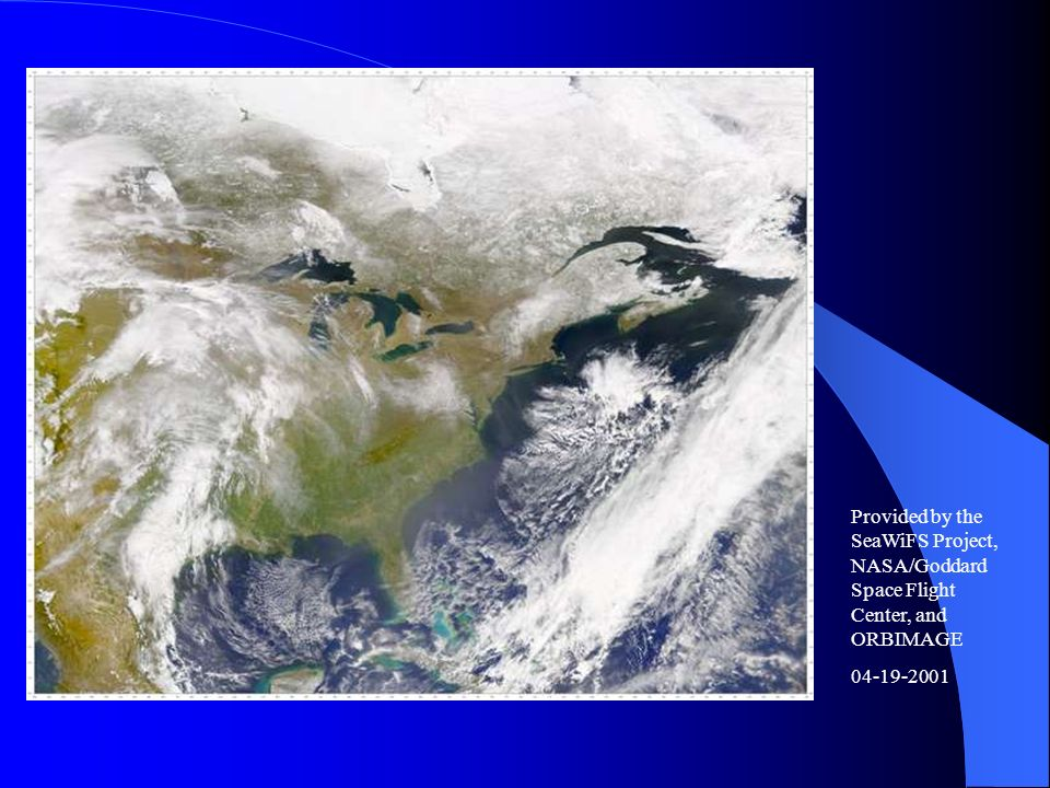 Provided by the SeaWiFS Project, NASA/Goddard Space Flight Center, and ORBIMAGE 04-19-2001