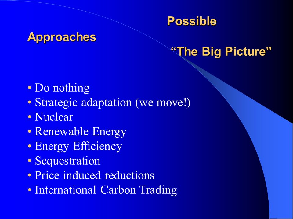 Possible Approaches The Big Picture The Big Picture Do nothing Strategic adaptation (we move!) Nuclear Renewable Energy Energy Efficiency Sequestration Price induced reductions International Carbon Trading