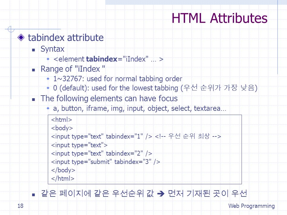HTML Attributes tabindex attribute Syntax Range of iIndex 1~32767: used for normal tabbing order 0 (default): used for the lowest tabbing ( ) The following elements can have focus a, button, iframe, img, input, object, select, textarea… Web Programming18