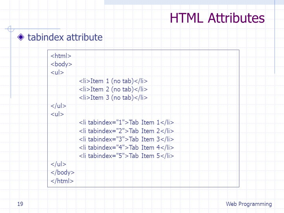 HTML Attributes tabindex attribute Web Programming19 Item 1 (no tab) Item 2 (no tab) Item 3 (no tab) Tab Item 1 Tab Item 2 Tab Item 3 Tab Item 4 Tab Item 5
