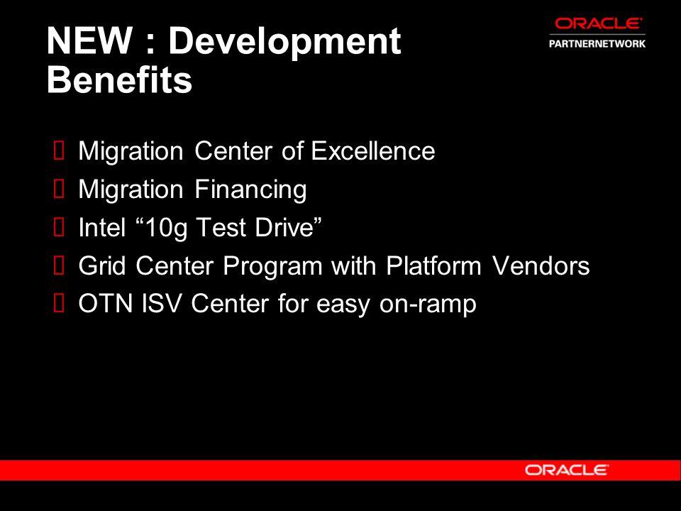 NEW : Development Benefits Migration Center of Excellence Migration Financing Intel 10g Test Drive Grid Center Program with Platform Vendors OTN ISV C