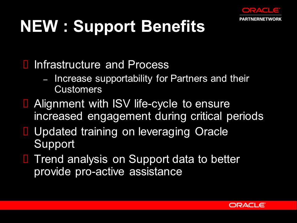 NEW : Support Benefits Infrastructure and Process – Increase supportability for Partners and their Customers Alignment with ISV life-cycle to ensure i