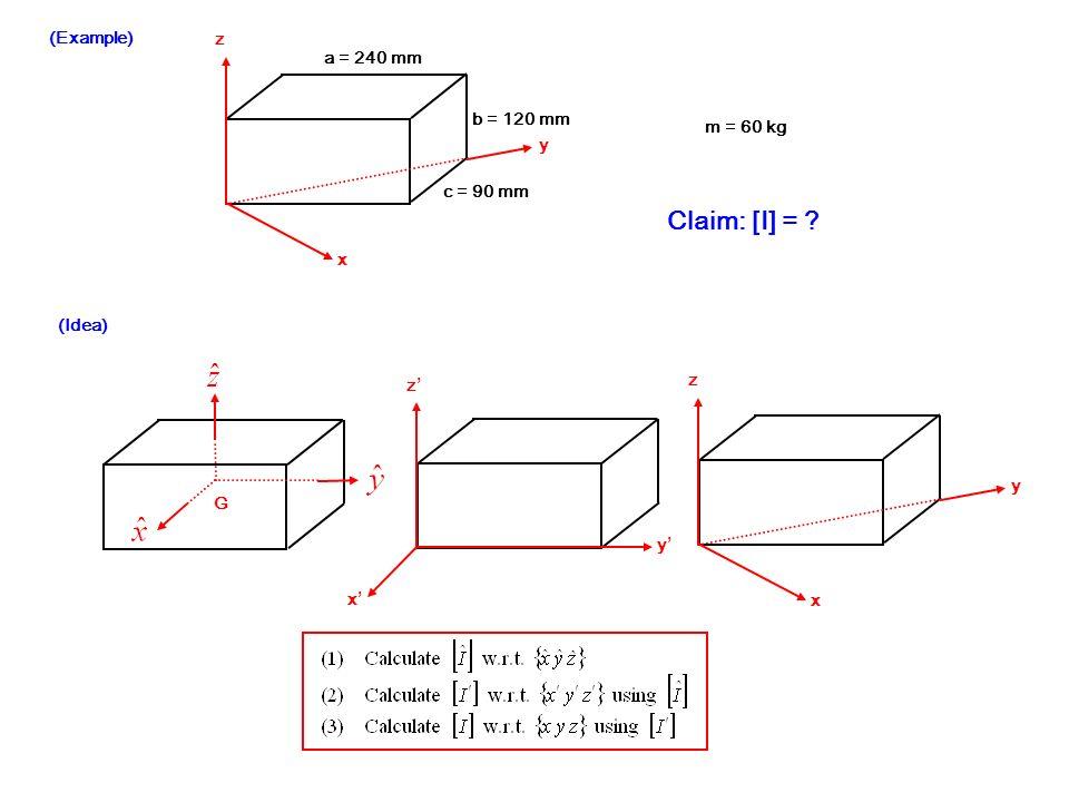 (Example) a = 240 mm b = 120 mm c = 90 mm x y z m = 60 kg Claim: [I] = ? (Idea) x y z x z y G