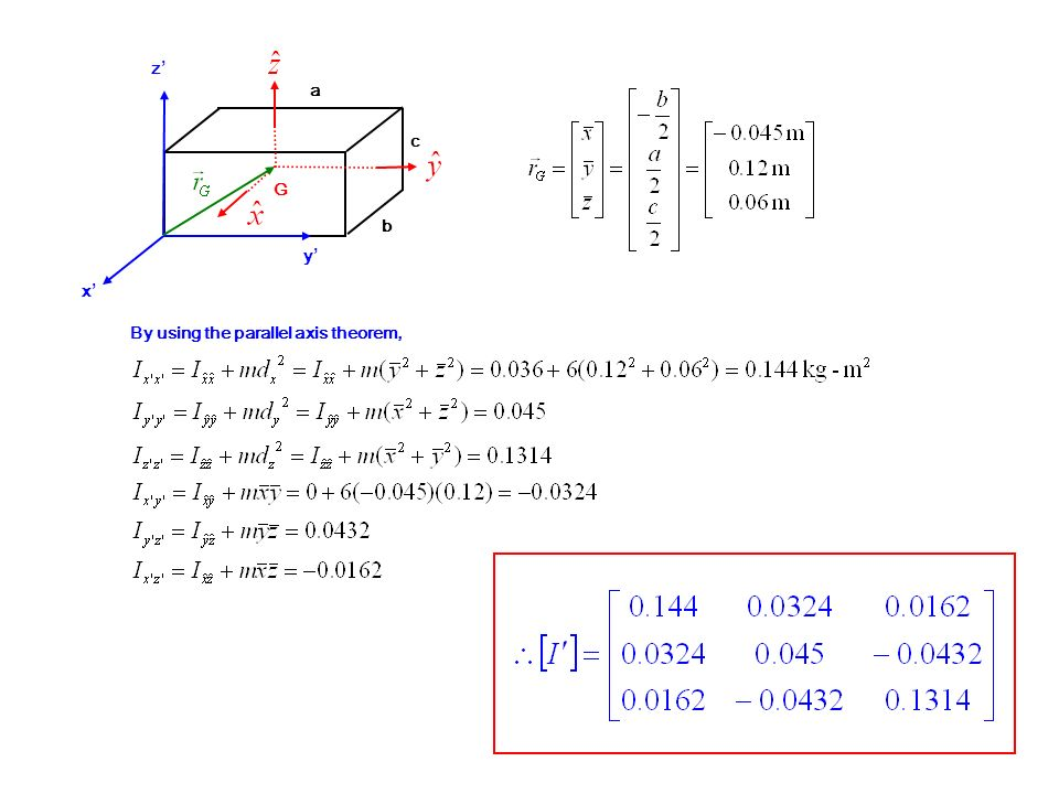 G b c a x y z By using the parallel axis theorem,