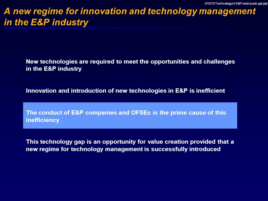 010731Technology in E&P-main pack.ppt.ppt 30 The pace of innovation in E&P has been slow relative to that in other industries 05101520253035 E&P indus